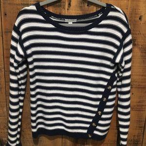 Garnet Hill Blue Striped Sweater